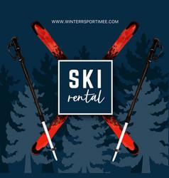 Winter sport social media design with ski tree vector