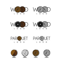 wood and parquet logos vector image