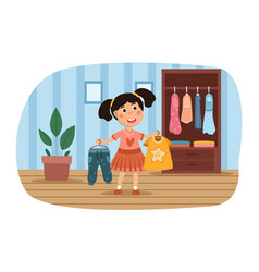 Young girl choosing an outfit clothes vector