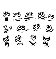 Cute black and white facial expressions vector image