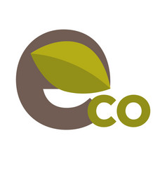 eco sign with leaf vector image