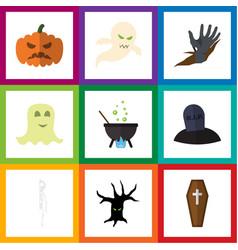 flat icon celebrate set of tomb skeleton pumpkin vector image vector image