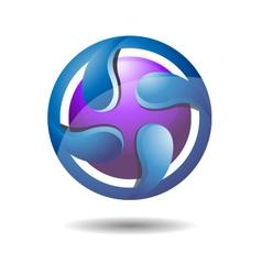 Glossy Abstract Circular Water Drop Logo Icon vector image vector image