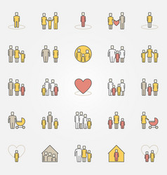 parents and family colorful icons vector image vector image