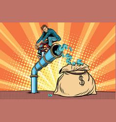 the financier sitting on cash tube vector image vector image