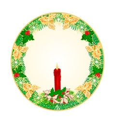 Button circle Christmas Spruce vector image vector image
