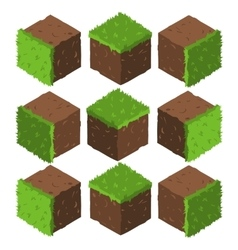 Cartoon Isometric grass and rock stone game brick vector image