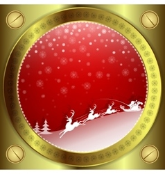 Christmas red design with gold frame vector image