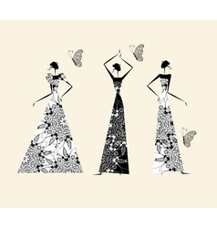 Fashion girls in wedding dresses for your design vector image