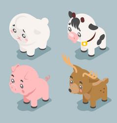 isometric 3d cute baby animals cartoon cubs flat vector image