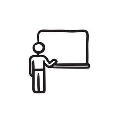 professor pointing at blackboard sketch icon vector image vector image