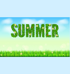 the inscription of summer green leaves of spring vector image vector image