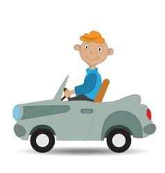 boy rides in the car vector image vector image