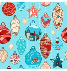 Christmas hand-drawn pattern with balls vector image