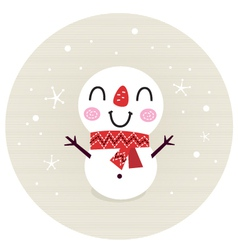 Cute retro Snowman in circle isolated on beige vector image vector image