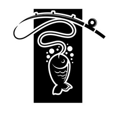fishing icon of fish catch on hook template vector image