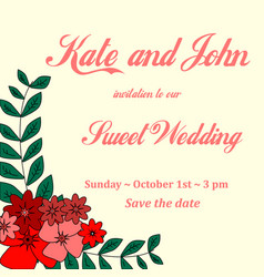 invitation card for wedding birthday with vector image