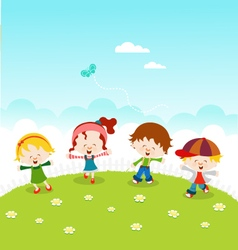 Kids Celebrating Spring vector image vector image