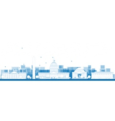 Outline Washington DC city skyline vector image
