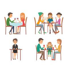 People in restaurant vector
