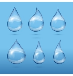 Set of realistic transparent water drops vector image vector image