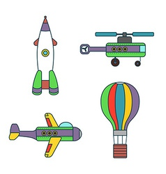 Abstract Air Vehicles Thin Line Icons Set vector image vector image
