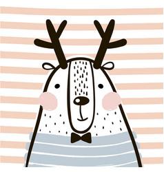 cute cartoon dear in scandinavian style childish vector image vector image