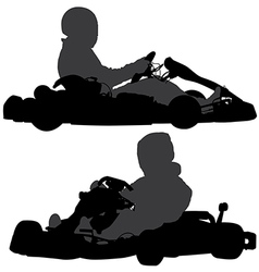 Go-Kart Silhouette vector image vector image