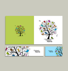 Greeting card design tree with singing birds vector