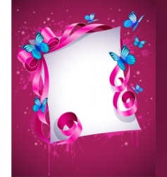 greeting card with pink bow vector image