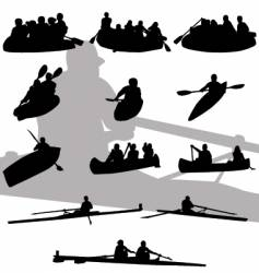 rowing silhouettes vector image vector image