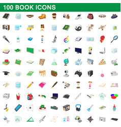 100 book icons set cartoon style vector image