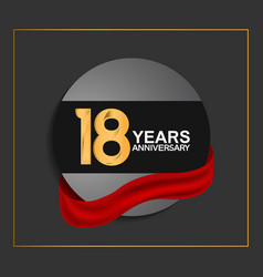 18 years anniversary logotype with golden color vector