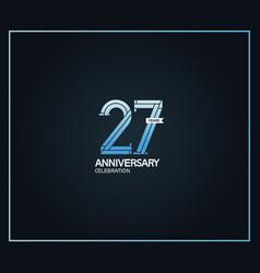27 years anniversary logotype with cross hatch vector