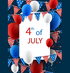 4th july card with balloons vector