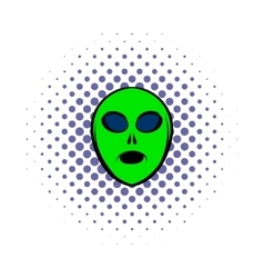 Alien green head icon comics style vector