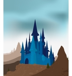Ancient castle in mountains vector