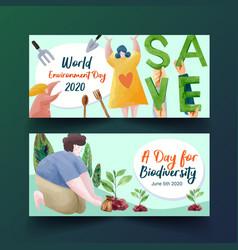 Billboard template design for world environment vector