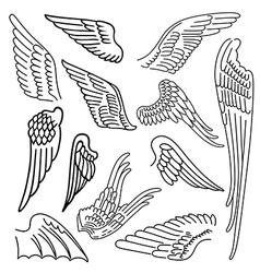 Birds wings set linear silhouette vector