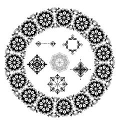 black floral elements vector image