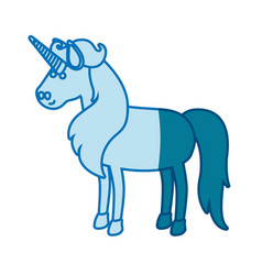blue silhouette of cartoon unicorn standing with vector image