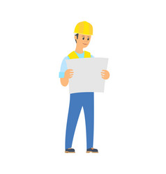 builder standing with engineering project vector image