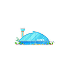 Building of airport terminal traffic control tower vector