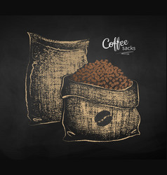 Chalk drawn sketch two sacks with coffee vector