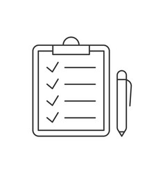 check marks on clipboard and pen linear icon vector image