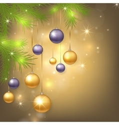 Christmas background with baubles and tree vector