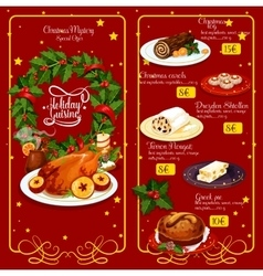 Christmas dinner menu festive template design vector