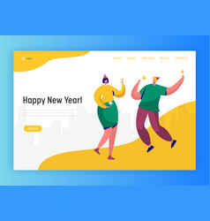 corporate party landing page template happy people vector image