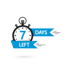 Countdown with left 7 day timer with 3 day go vector