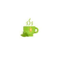 cup of black and green tea vector image